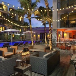 Outdoor seating area with fairy lights and palm trees