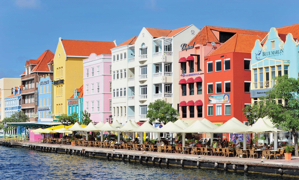 Colorful buildings overlooking waterfront area