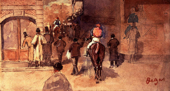 painting of man riding a horse through a city street