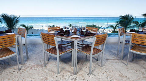 Outdoor seating area overlooking the ocean