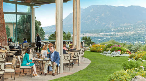 Outdoor seating area overlooking the mountains